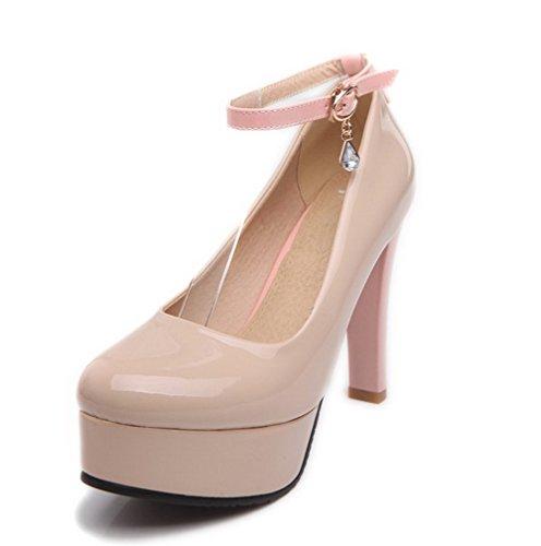 VogueZone009 Femme à Talon Haut Couleurs Mélangées Boucle Verni Rond Chaussures Légeres Abricot