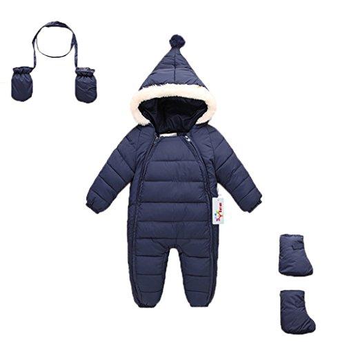 Vine Baby Schneeanzug mit Handschuhe Footies Winter Säugling mit Kapuze Spielanzug, Blau 12-18 Monate