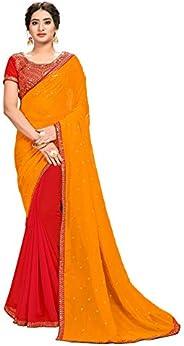 CLOTHAM Women's Georgette Saree With Blouse Piece (c-diva103_Orange &a
