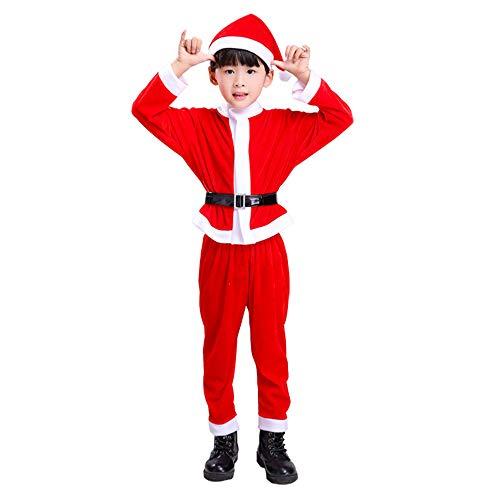 Fliyeong 1 satz baby jungen weihnachten santa anzug mit hut baby party outfit weihnachtsmann kostüm weihnachten outfit 100 cm (Jungen Anzug Santa)