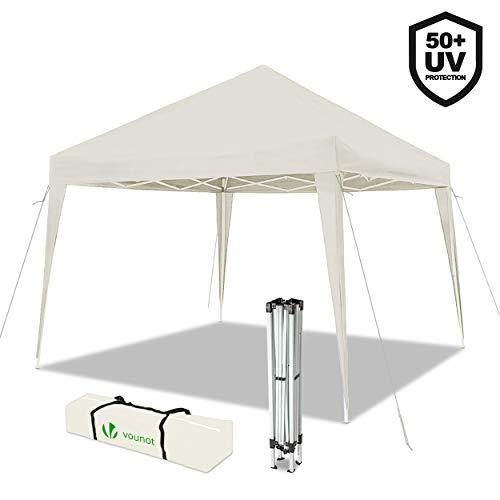 VOUNOT Faltpavillon 3x3m Wasserdicht, Pavillon Faltbar, Pop Up, UV-Schutz 50+, Weiß