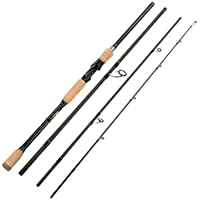 Lixada 4 Sections Carbon Fiber Portable Baitcasting Spinning Fishing Rod Medium Rod Fishing Pole for Saltwater and Freshwater