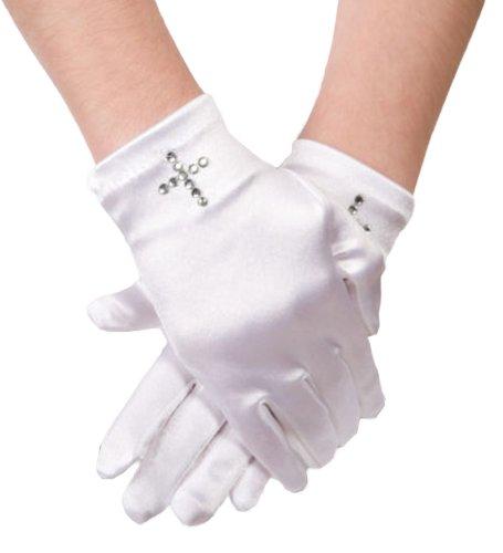 Flora Satin Mädchenkurz Fingered Kommunion Handschuh, Handgelenk-Länge mit Diamante Kreuz