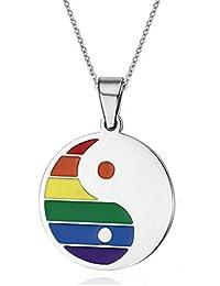 Daesar Joyería Collar del Acero Inoxidable Inoxidable Arco Iris Tira Colgante Taiji Collar Gay Lesbian Orgullo LGBT Collar