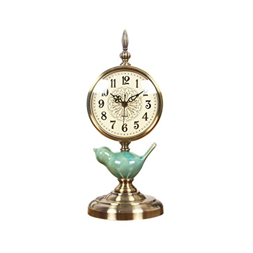 Health UK Clock- Clock Modern Minimalist Antique 6-Inch Crack Ceramic Mosaic Classical Desktop Clock Mute Sitting Bell Welcome