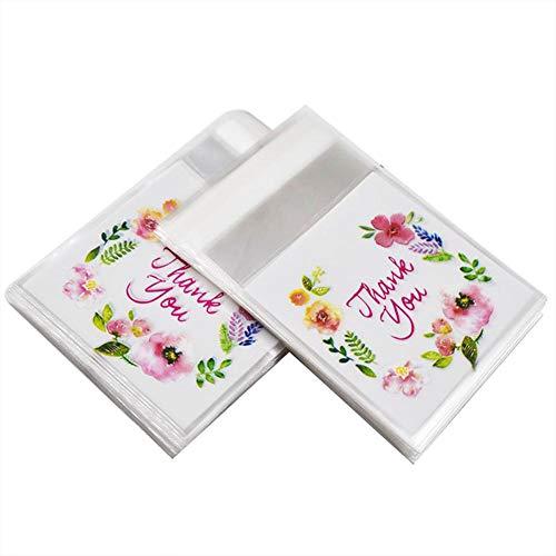 Lumanuby 100x 'Thank You' Süßigkeiten Beutel Selbstklebend für Candy Cookie oder Geschenke OPP Blumen Verpackung Transaperent für Bäckerei oder DIY Hochzeits oder Verlobung Size 14 * 14+3cm