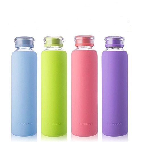 Miu Color Glaswasserflaschen, für Getränke, Trinken, Saftflasche, Milchcontainer, zum Sport mitnehmen, 450ml, BPA-frei, himmelblau