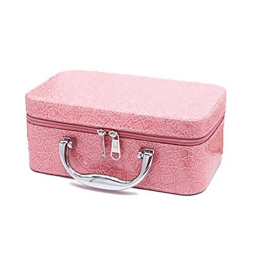HZXMRX Frauen Krokodilmuster Kosmetik-Etui PU Wasserdicht Große Rechteckige Aufbewahrungsbox,Pink (Wasserdichte Kosmetik-etui)
