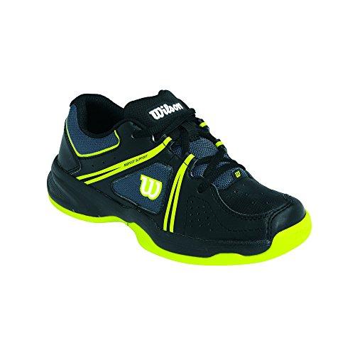 Wilson ENVY JUNIOR, Unisex-Kinder Tennisschuhe, Mehrfarbig (Coal/Black/Solar Lime), 31 1/3 EU (12.5 Kinder UK)
