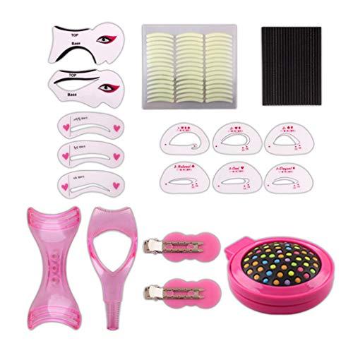 Bomcomi 9 Tipi del Eyeliner del sopracciglio Stampino Ciglia Card Set Ombretto di Trucco corredo di Attrezzi di Disegno Guida sopracciglio Stampi