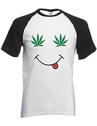 61d082e8b30c59 PatPat Store Weed Eye Smile Smoke Cannabis Funny Novelty Black White Men  Women Unisex Short