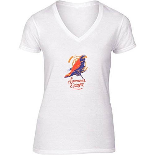 T-shirt Bianco scollo a V Donne - Taglia S - Surfer Sport Surf by WonderfulDreamPicture