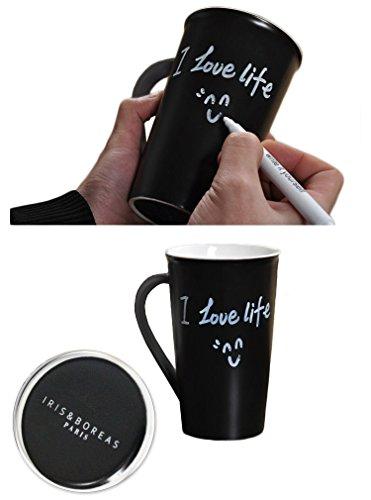 Iris&Boreas Mug [Taza Pizarra Personalizable] con [Rotulador Tiza Blan
