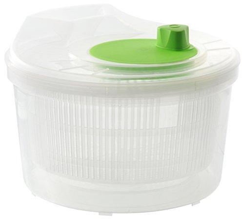 Fackelmann Salatschleuder, Salatschüssel mit Sieb, Küchenhelfer mit Wassereinfüllöffnung (Farbe: Transparent/Grün), Menge: 1 Stück
