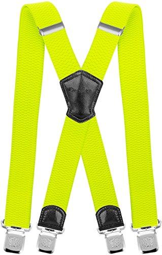 Decalen Hosenträger für Herren Breit 4 cm mit sehr Starken 4 Metall Clip Lang Einheitsgröße für Männer und Damen Einstellbar und Elastisch X Style (Gelbes Neon) (Schwarze Körper Anzug Kostüm)