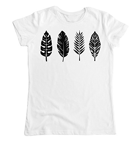 Palm Leaf Bird Feather Graphic Damen T-Shirt Large