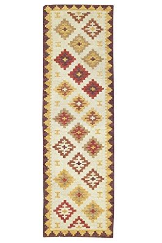 Jute & co. tappeto, passatoia kilim originale di alta qualità tessuto a mano, lana, multicolore, 274x76x0.50 cm
