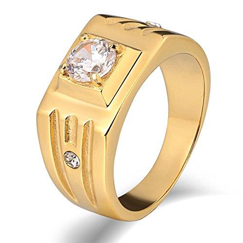 Beglie Edelstahl Herren Ringe Herrenring Lapislazuli Siegelring Bandring Daumenring für Mann Gold Tungsten Rings for Men Matte Größe 65 (20.7)