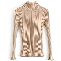 SZYL-Sweater Camiseta de manga larga Sra. Bottom, Europa y otoño, mujer, cuello de tortuga, aros, beige, talla única