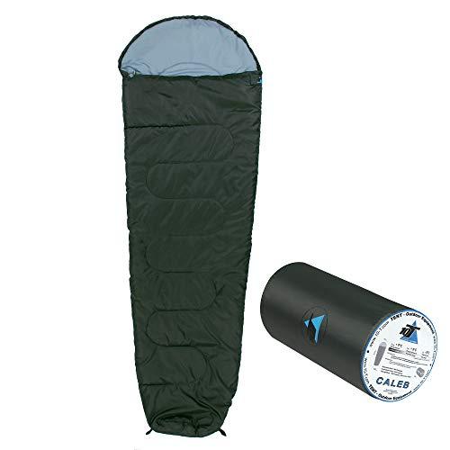 10T Schlafsack Caleb -8°C 860g leicht warm weich Mumienschlafsack 220x75 Grau/Blau 150g/m² waschbar