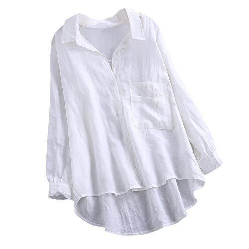 iHENGH Black Friday Weihnachten Karnevalsaktion Damen Herbst Winter Bequem Lässig Mode Frauen Täglich Lässige Lose Leinen Soild Button Solide Langarm Shirt Bluse ()