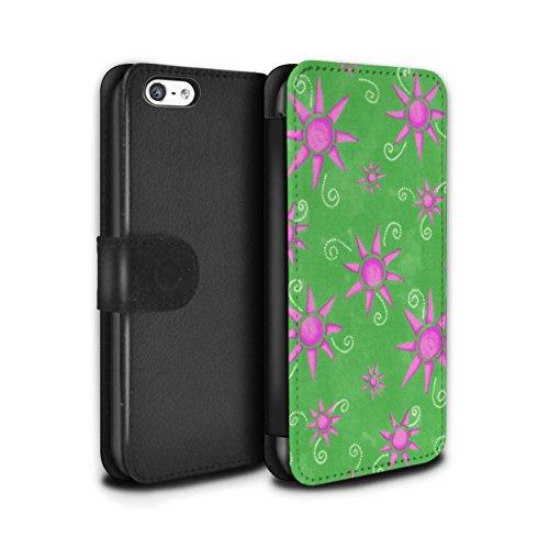 Stuff4 Coque/Etui/Housse Cuir PU Case/Cover pour Apple iPhone 5C / Noir/Blanc Design / Motif Soleil Collection Vert/Rose