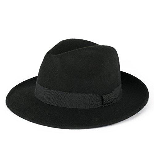 Unisex 100% Wool Handmade In Italy Waterproof Trilby Fedora Hat - Black (Funeral Hat Black)
