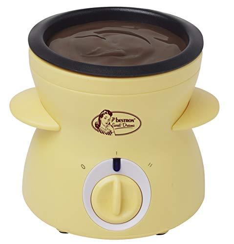 Bestron Schokoladen-Fondue im Retro Design, Sweet Dreams, 25 Watt, Gelb