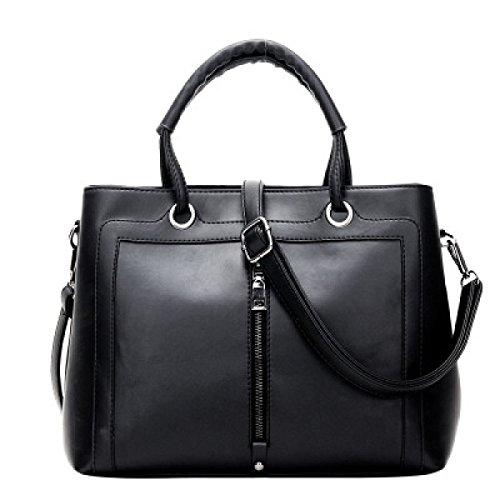 ZPFME Handtaschen Der Frauen Beiläufig Damebeutel Handtasche Mädchen Partei Retro Damen Art Und Weise Schulterbeutel Kurierbeutel Black