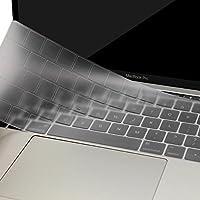 MOSISO Cubierta de Teclado Compatible 2018 2017 2016 MacBook Pro 13 y 15 Touch Bar A1989 A1706 A1990 A1707 Ultra Uelgado Protectora con Función Teclas(EU Layout con Alfabeto Inglés), Claro