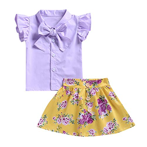 JUTOO Kinder Baby Jungen einfarbig gekräuselte Tops Floral Röcke 2 Stück Outfit Kleidung Sommer (Lila,100) Floral 2 Teller
