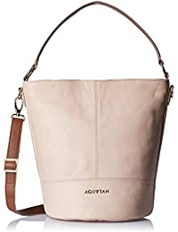 Aquatan Women's Ride Along Medium Leather Hobo Blush Pink and Brown AT-M-22