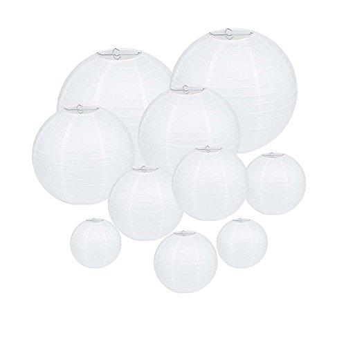 Fanaticism 10 Stück Weiße Papierlaterne Lampion rund Lampenschirm Hochtzeit Party Dekoration Ballform (Papier-laternen Mit Beleuchtung)