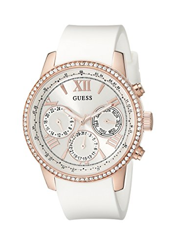 GUESS U0616L1 LADIES WHITE RUBBER 42MM STAINLESS STEEL CASE CHRONOGRAPH WATCH
