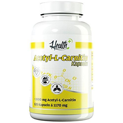 HEALTH+ Acetyl-L-Carnitin – 120 Kapseln, hochdosiert 1000 mg ALCAR pro Kapsel, Acetyl L Carnitin Kapseln für verbessertes Denkvermögen und Fettstoffwechsel, Nahrungsergänzungsmittel Made in Germany