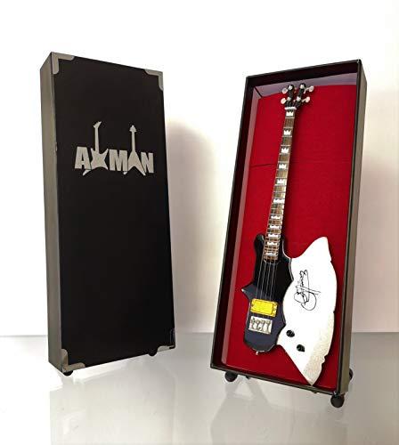 Miniatura Guitarra Replica: Gene Simmons hacha de Kramer Bass-Modelo Mini Rock Memorabilia réplica de madera miniatura guitarra & Libre Pantalla Soporte (vendedor de Reino Unido)