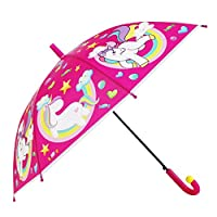 Unicorn Kids Umbrella - Stick Umbrella for Girls Boys- Windproof and Resistant Dome Brolly - Safety Opening - 5 to 12 Years - Unicorn Design - Diameter 83 cm Cool Kids