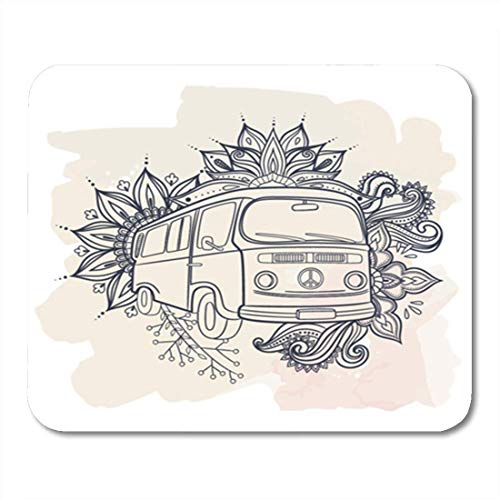 Hand Drawing Vintage Mini Van Bus Flower Power 1960S 60S 70S Adventure 11.8