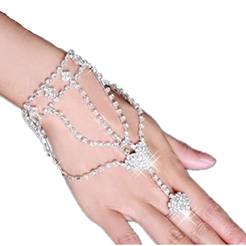 VORCOOL Strass Decor Bracciale con Anello Catena
