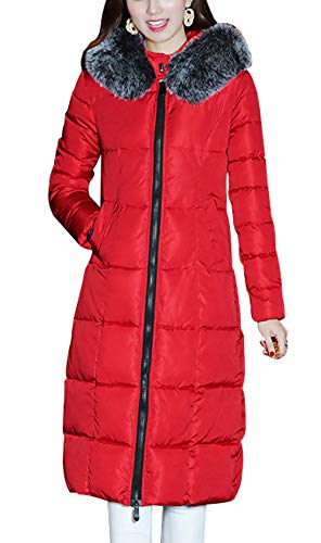 chouyatou Damen Winter windsicher Padded Lange unten Alternative Mantel aus kunstpelz Hood mittel rot -