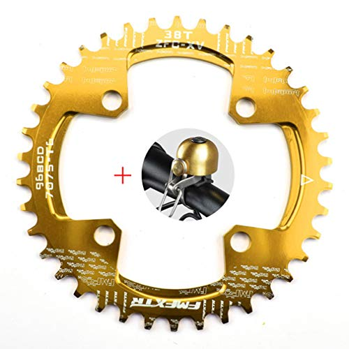 DUBAOBAO AM/XC Fahrrad 96BCD runde Einzelplatte, 32T / 34T / 36T / 38T Mountainbike Fahrradplatte Scheibe und Kurbel Furnier, gelb,96bcddisc38T -