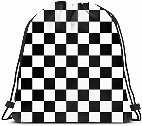 Drawstring Backpack String Bag 14X16 Surface Black Detail Popular Competition Checker Tile Chess Pattern White Board Check Floor Checkered Grid Sport Gym Sackpack Hiking Yoga Travel Beach