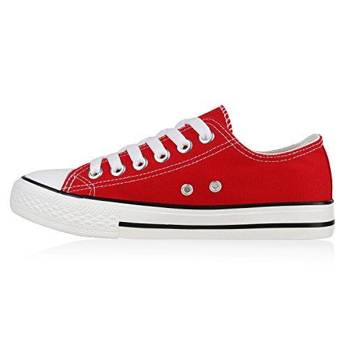 Damen Sneakers Sportschuhe | Sneaker Low Denim | Stoffschuhe Blumen Camouflage Rot Weiss