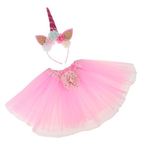 D DOLITY 2-teiliges Set Einhorn Kostüm für Mädchen Verkleiden - Hell-Pink