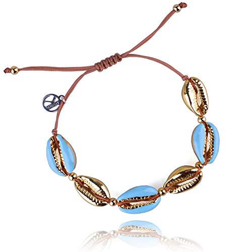 KELITCH Damen Armbänder Frauen Männer Bunte Metall Conch Bead Einstellbare Handmade String Bangle Freundschaft Charme Armband für Mädchen Herren - Blau