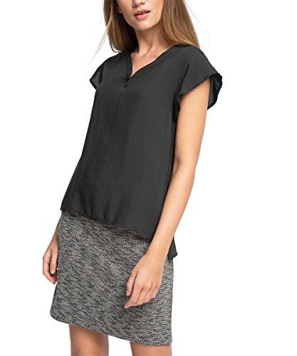 Esprit 046ee1k012-Flügelärmeln, T-Shirt Femme Noir (BLACK 001)