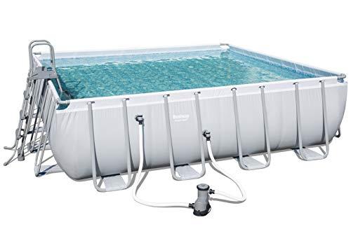 Bestway Power Steel Square Frame Pool Set, hellgrau, quadratisch mit Filterpumpe + Zubehör, 488x488x122cm