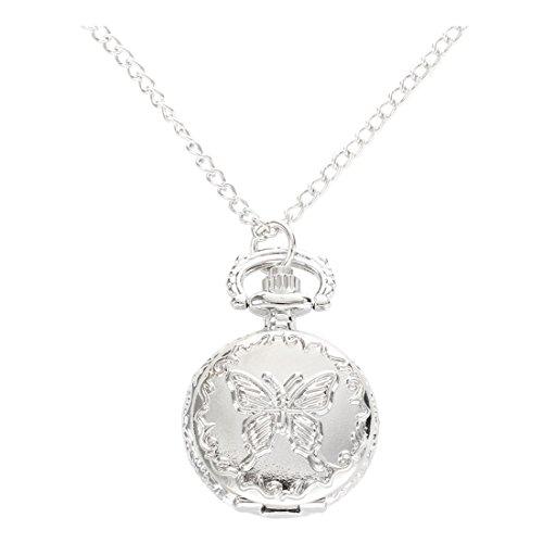 SODIAL(R) Orologio da Tasca Argento al Quarzo Farfalla Numeri Arabi con Collana Vintage