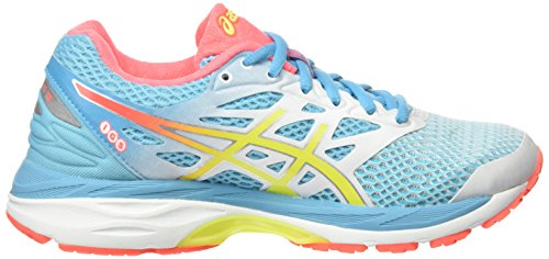 Asics Gel-Cumulus 18, Chaussures de Course Femme Blanc (White/Safety Yellow/Blue Atoll)