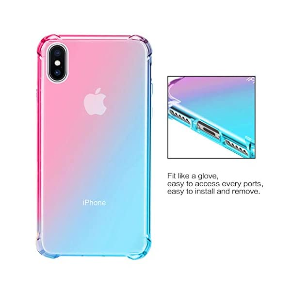 Oihxse Compatible with Galaxy A6S Case Clear with Gradient Colour Design, Soft Silicone [Air Cushion] [Anti-Yellow] Drop Protection Shockproof Fashion Slim Fit TPU Bumper Skin Cover-Green Pink Oihxse SLIM FIT - Fit snugly for Samsung Galaxy A6S without loose, deform and bulky as well as interfering the reception of [WiFi, Bluetooth, Signal, Wireless Charging] etc. 360 DEGREE ALL ROUND PROTECTION - Reinforced Air Cushion is adopted on 4 corners to reduce the damage of shocks, drop, and bumps. Built in micro dots on the inner surface to prevent the [Air Bubbles and Clinging] FASHION GRADIENT COLOUR - Adopted with stylish color blendent such as blue+purple, yellow+pink, green+pink, etc. on the clear TPU gel cover. Not only shows the beauty of your Samsung Galaxy A6S, but unique fashion sense. Suitable for girls, boys, women and men. 5